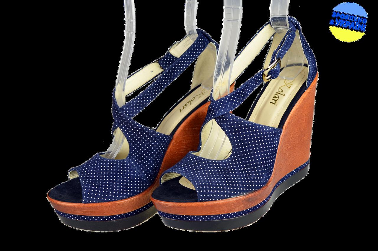 46ecc3807 Женские женские босоножки на танкетке kolari 5098 темно-синие летние -  Магазин обуви