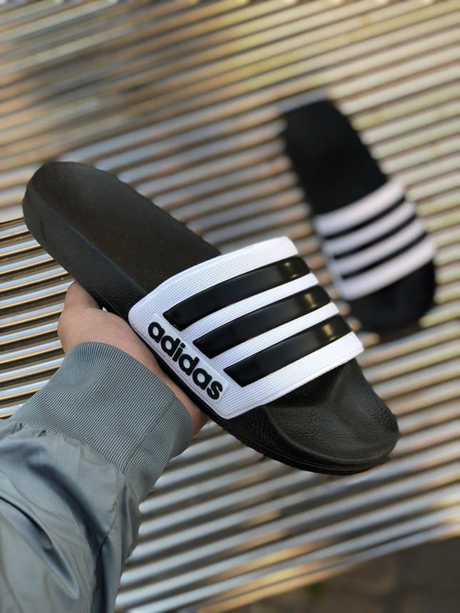 Шлёпки Adidas Белые-Черные, фото 2