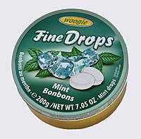 Леденцы (конфеты) Woogie Fine Drops (мелкие капли)  мятный вкус Австрия 200г