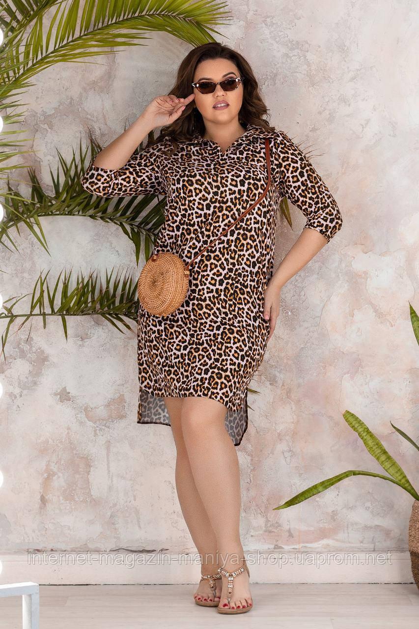 Платье женское 089 леопард карманы 50-56 батал (лето)