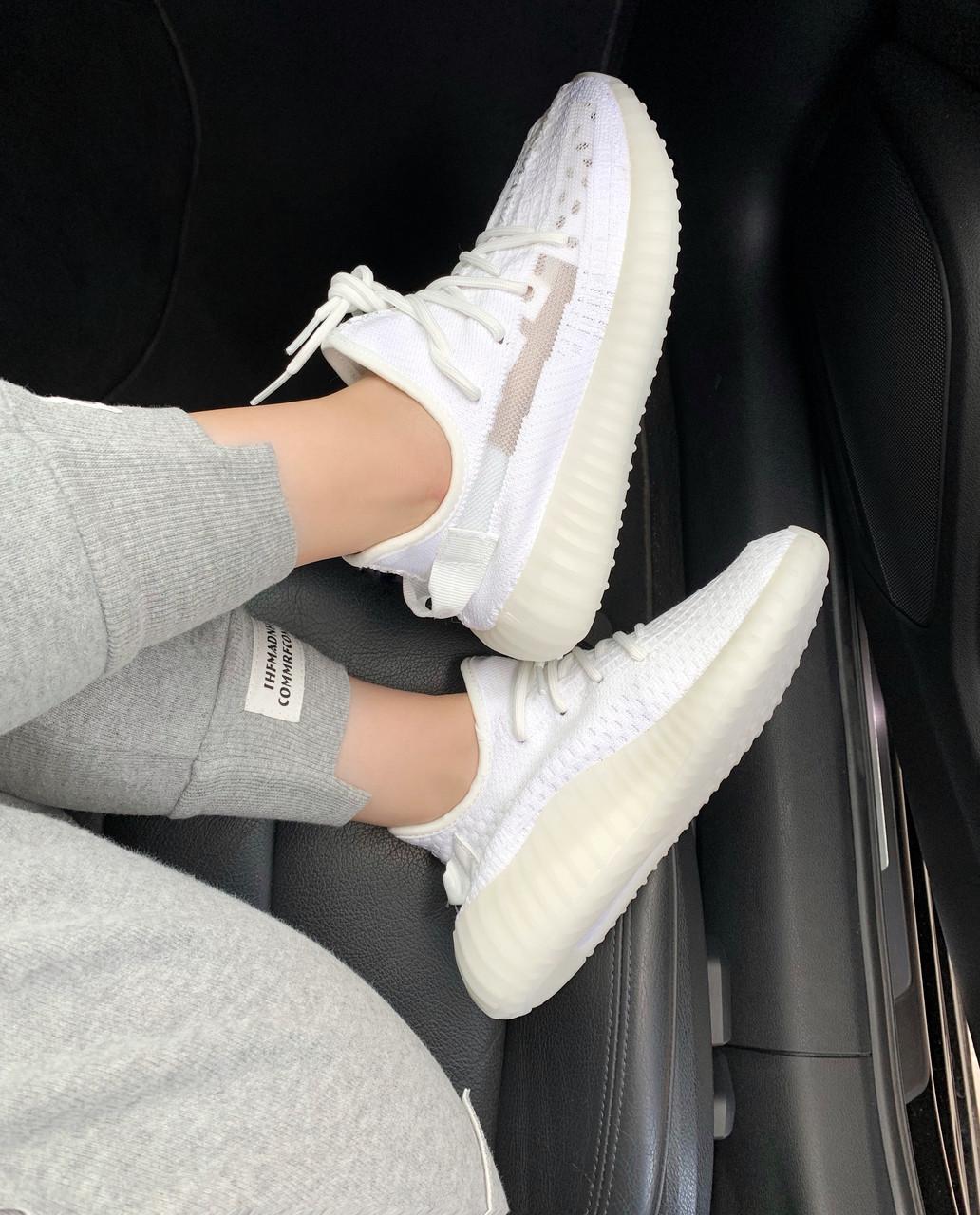 Adidas Yeezy Boost 350 v2 Clear White | кроссовки женские и мужские; летниевесенние; белые