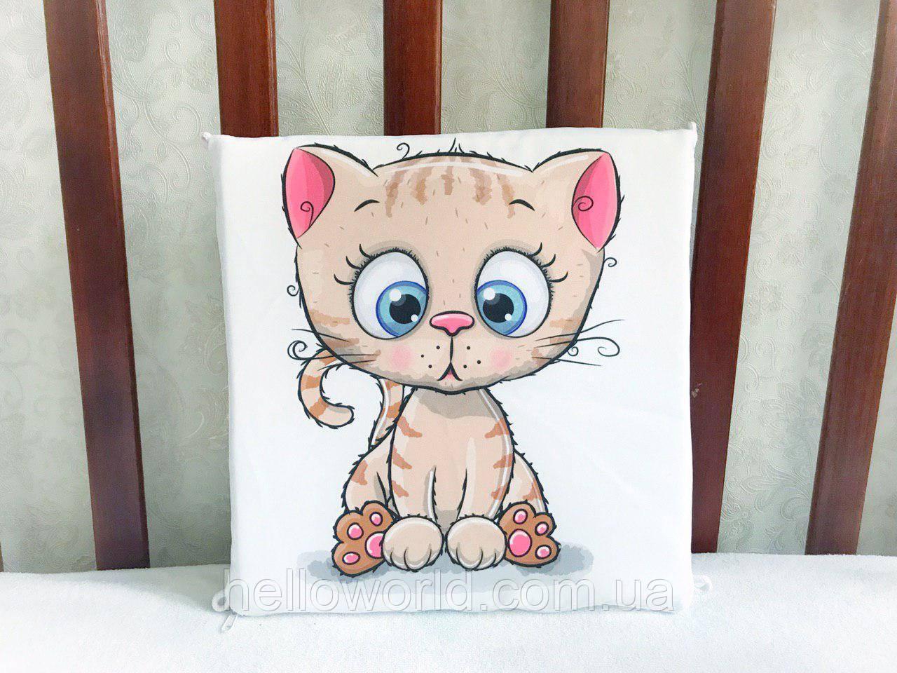 Бортик Бежевый котик с розовыми ушками