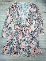 Пляжный халат тропический принт. Парео накидка с длинным рукавом. Кимоно. Туника на купальник