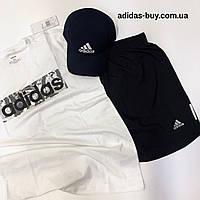 Спортивный костюм adidas шорты и футболка комплект мужской оригинал DX2129 цвет: тёмно-синий/белый