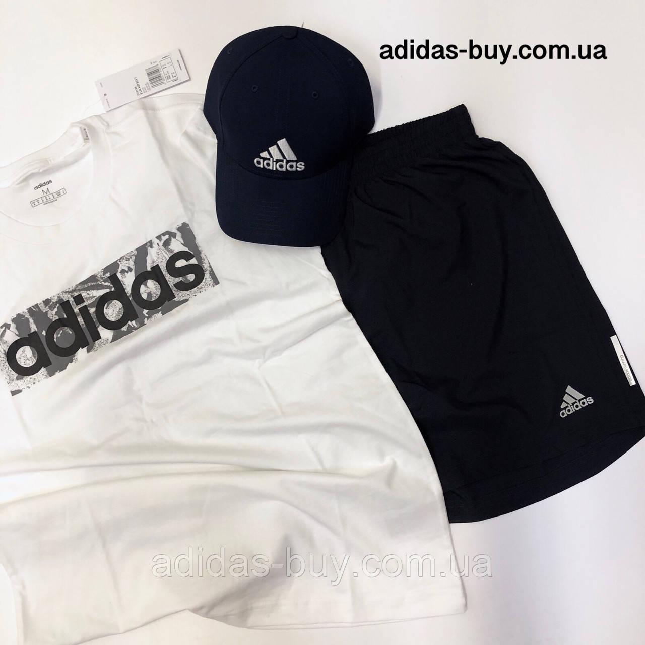 fb550c2ed0c14 Спортивный костюм adidas шорты и футболка комплект мужской оригинал DX2129  цвет: тёмно-синий/