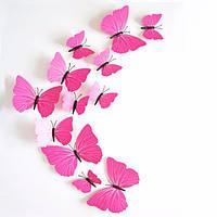 Объемные 3D бабочки. Набор 12 штук, розовые. Декоративные наклейки на стену, холодильник, мебель, на магните