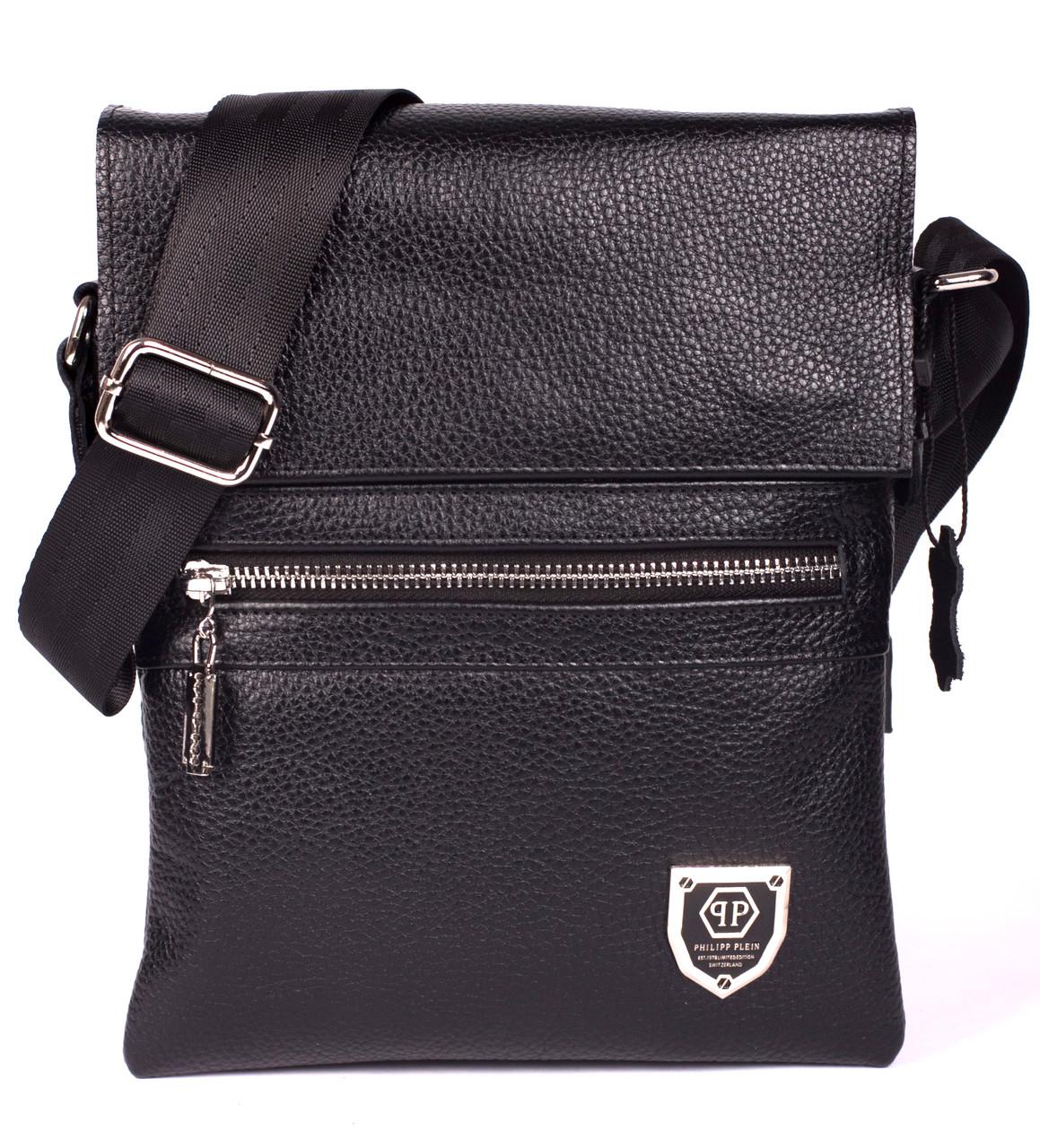 Кожаная мужская сумка Philipp Plein 24х18 см. Мужская сумка из натуральной кожи