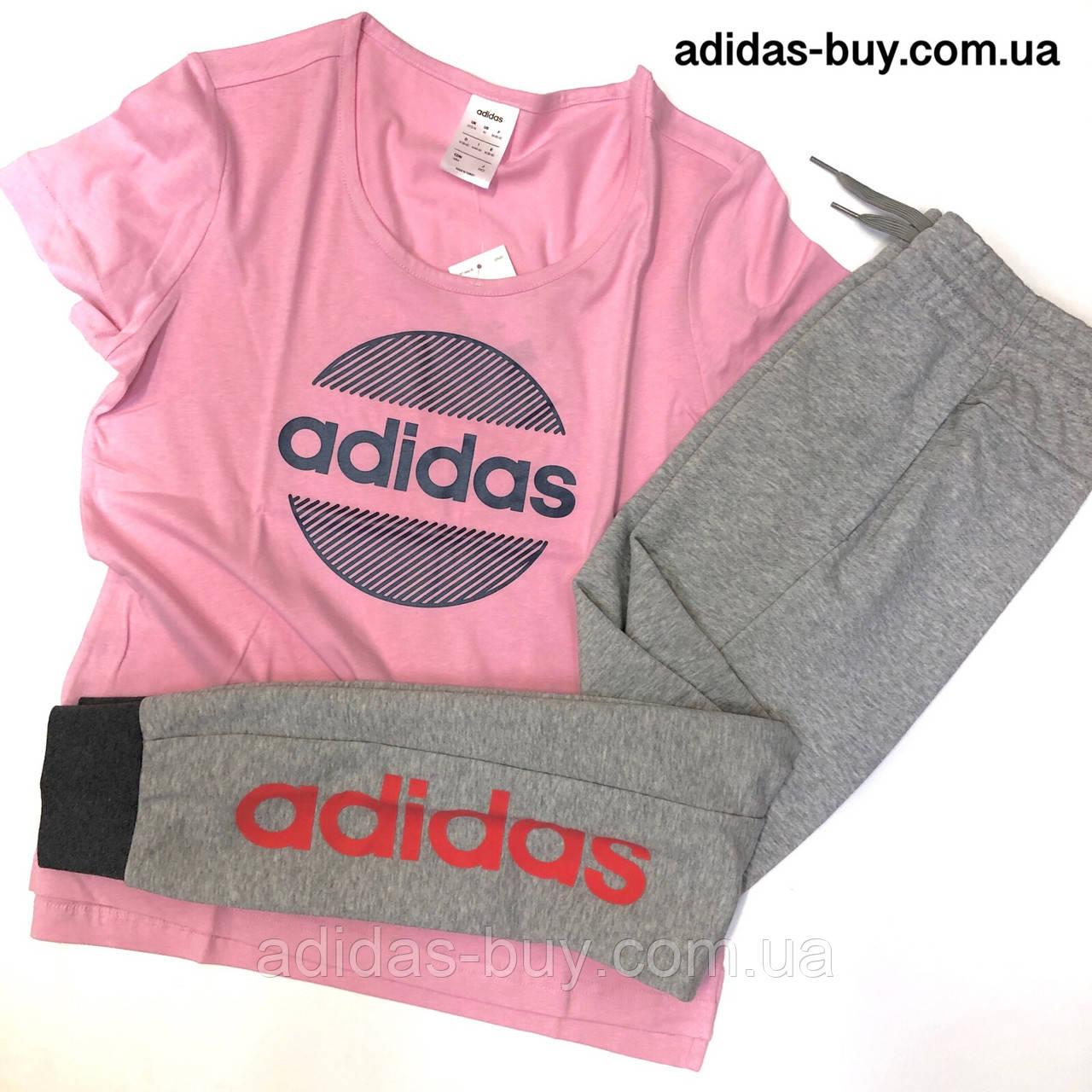 7257677f Спортивный костюм adidas футболка и штаны комплект женский оригинал DU0700  цвет: серый/розовый -