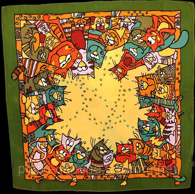 """Павлопосадский платок шелковый  шейный """"Мартовский"""" рис. 1085-10 (крепдешин) размер 52х52 см"""