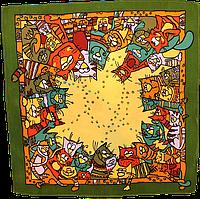 """Павлопосадский платок шелковый  шейный """"Мартовский"""" рис. 1085-10 (крепдешин) размер 52х52 см, фото 1"""