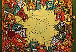 """Павлопосадский платок шелковый  шейный """"Мартовский"""" рис. 1085-10 (крепдешин) размер 52х52 см, фото 3"""