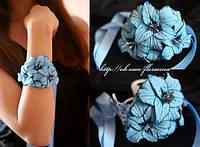 """""""Голубые гладиолусы"""" браслет на руку с цветами ручной работы"""