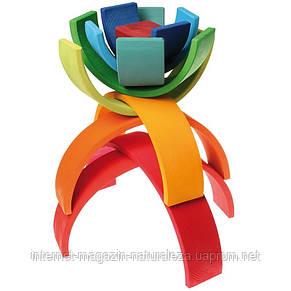 Дерев'яна пірамідка Grimms Веселка 12 кольорів, фото 2