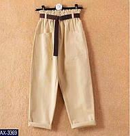 Укороченные стильные женские бежевые брюки
