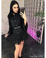 Короткое платье-рубашка с кружевом