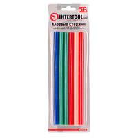Комплект цветных клеевых стержней 11.2мм*200мм, 12шт INTERTOOL RT-1028