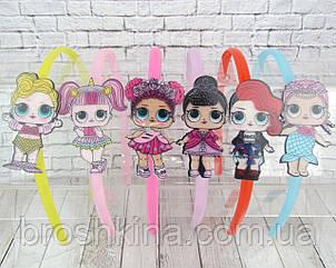 Детские обручи для волос куколки LOL пластик с блестками цветные 12 шт/уп.