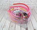 Детские обручи для волос куколки LOL пластик с блестками цветные 12 шт/уп., фото 2