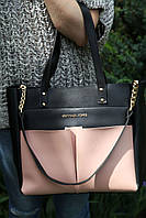 Женская сумка Zara черная+пудра кожзам