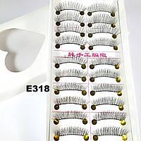 Качественные натуральные ресницы по 10 пар (11 видов) 13, К центру, На нитке