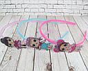 Детские обручи для волос куколки LOL пластик с блестками цветные 12 шт/уп., фото 3