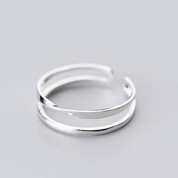"Серебряное кольцо без вставок ""Вираж"""
