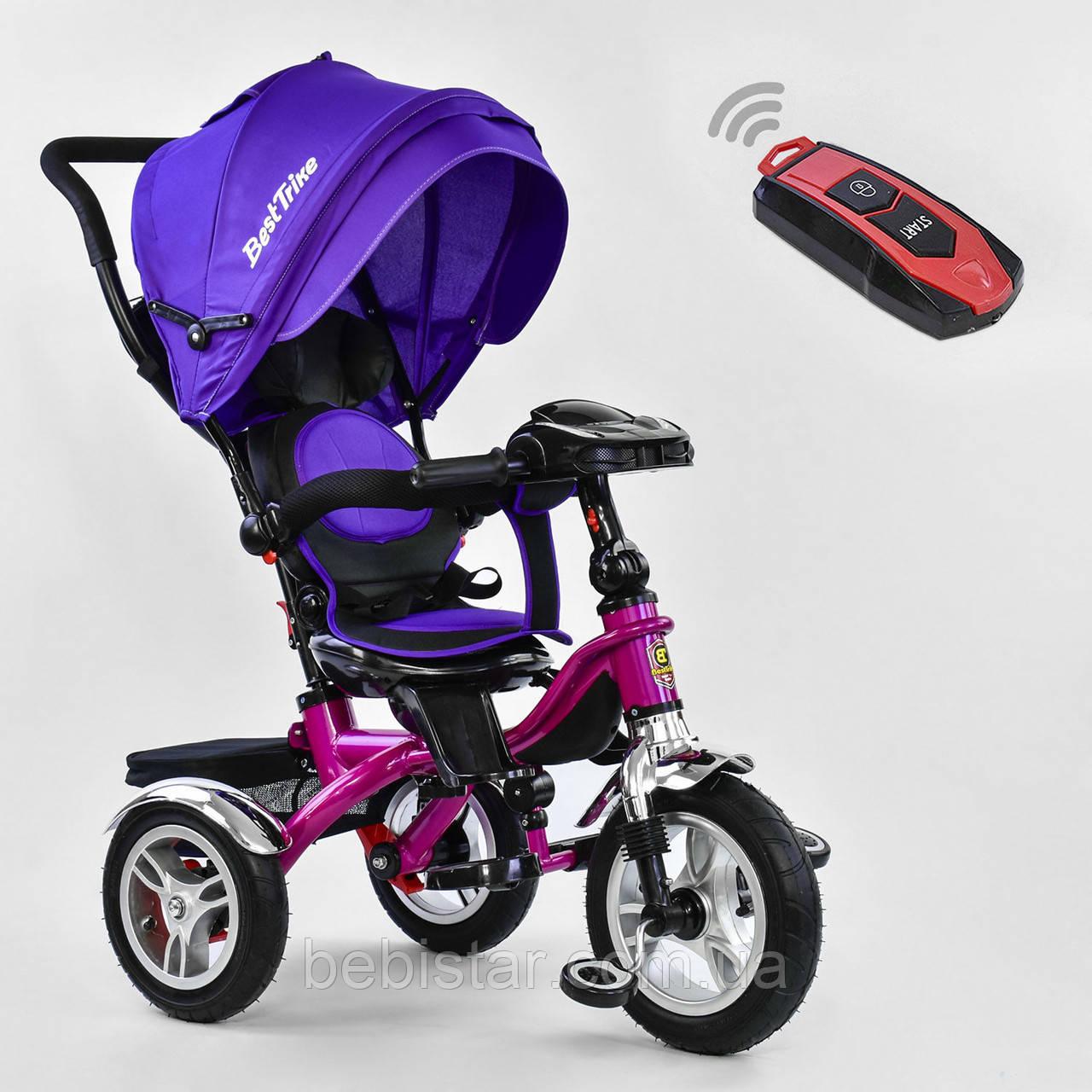 Трехколесный велосипед фиолетовый Best Trikeмодели5890 пульт надувные колеса поворотное сидение музыка свет