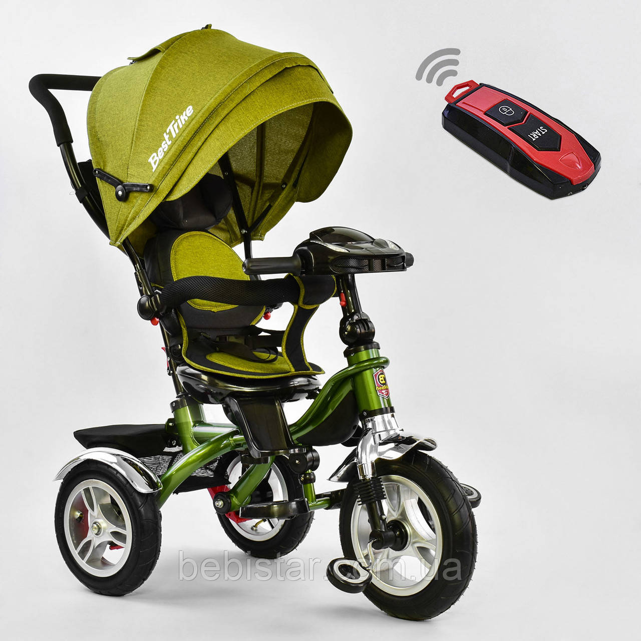 Трехколесный велосипед хаки Best Trikeмодели5890 с пультом надувные колеса поворотное сидение музыка свет
