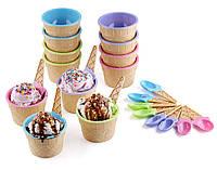 Набор пластиковых креманок-морожениц с ложками, 12 шт. пастельные тона