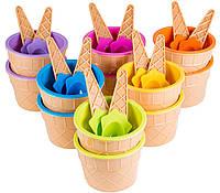 Набор пластиковых креманок-морожениц с ложками, 12 шт., яркие неоновые оттенки