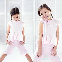 Детский легкий костюм розового цвета девочке, 100% хлопка, рост 104-128 см., 205/175 (цена за 1 шт. + 30 гр.)