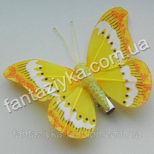 Бабочка перьевая с белой полосой 7см, желтая
