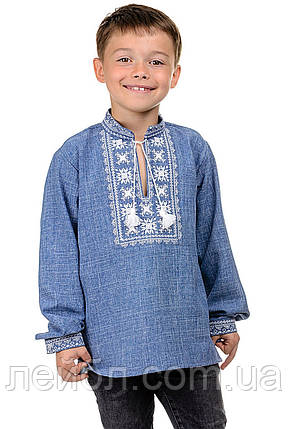 Детская сорочка-вышиванка Орнамент - джинс, фото 2