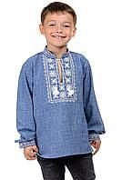 Детская сорочка-вышиванка Орнамент - джинс