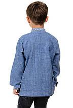 Детская сорочка-вышиванка Орнамент - джинс, фото 3