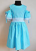 Сарафан для девочек 5-10 лет голубого цвета в горошек 7840, фото 1
