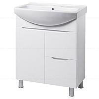 Тумба под раковину для ванной комнаты на ножках ВИСЛА Т4 (белая) с умывальником ИЗЕО 70