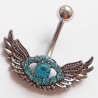 """Для пирсинга пупка """"Голубой ангел"""". Медицинская сталь., фото 1"""
