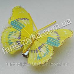 Бабочка 75мм с блестящим кантом, желтая