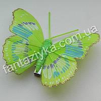 Бабочка 75мм с блестящим кантом, салатовая