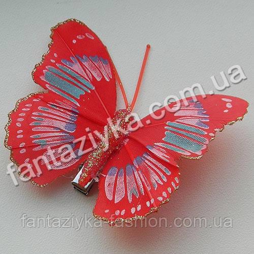 Бабочка 75мм с блестящим кантом, красная