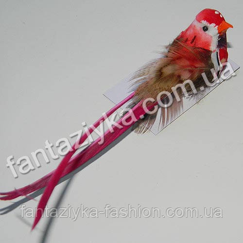 Райская птичка 8см красная искусственная