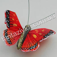 Декоративная бабочка монарх 45мм, красная
