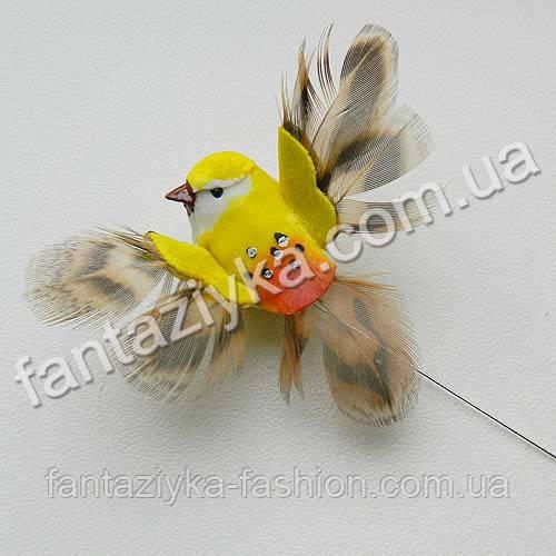 Маленькая птичка с крылышками 4см, желтая