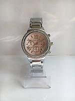 Женские наручные часы Mi-hael Kor$ (в стиле Майкл Корс), серебристо-розовый цвет