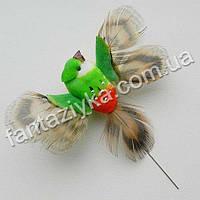 Маленькая птичка с крылышками 4см, зеленая