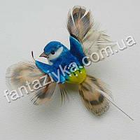 Маленькая птичка с крылышками 4см, синяя