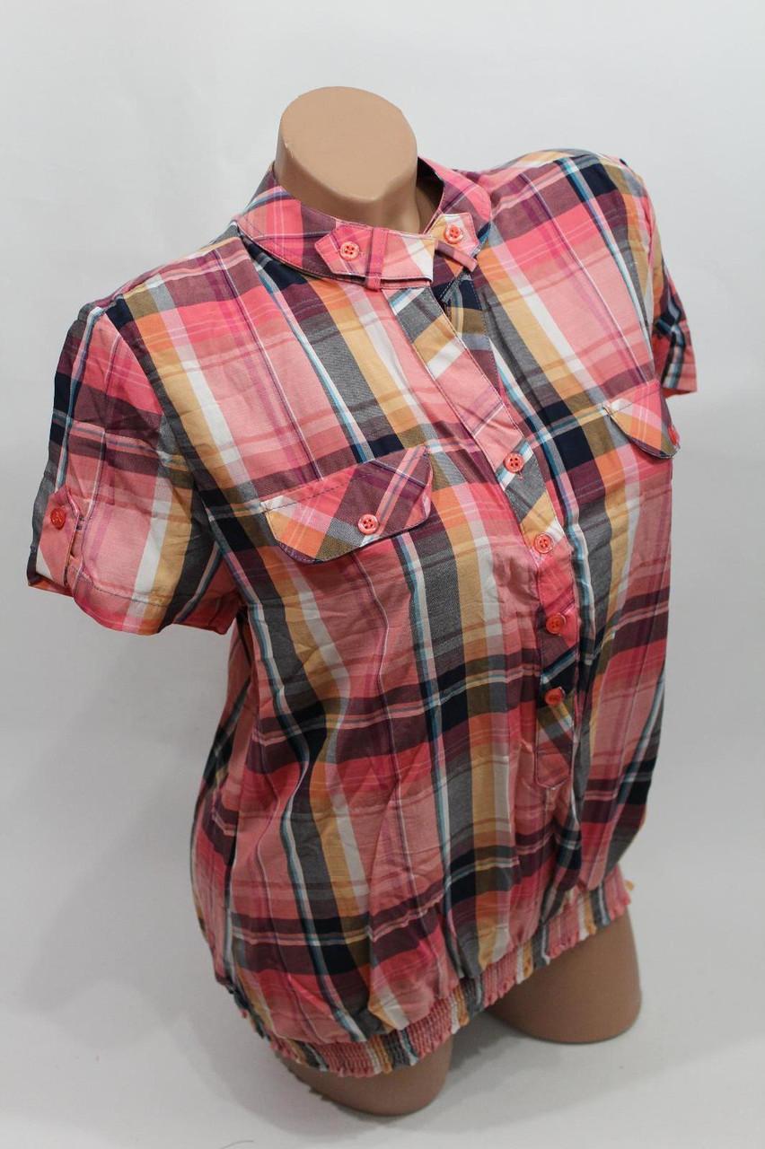 Женская рубашка в клетку с коротким рукавом B 5262 оптом в Хмельницком