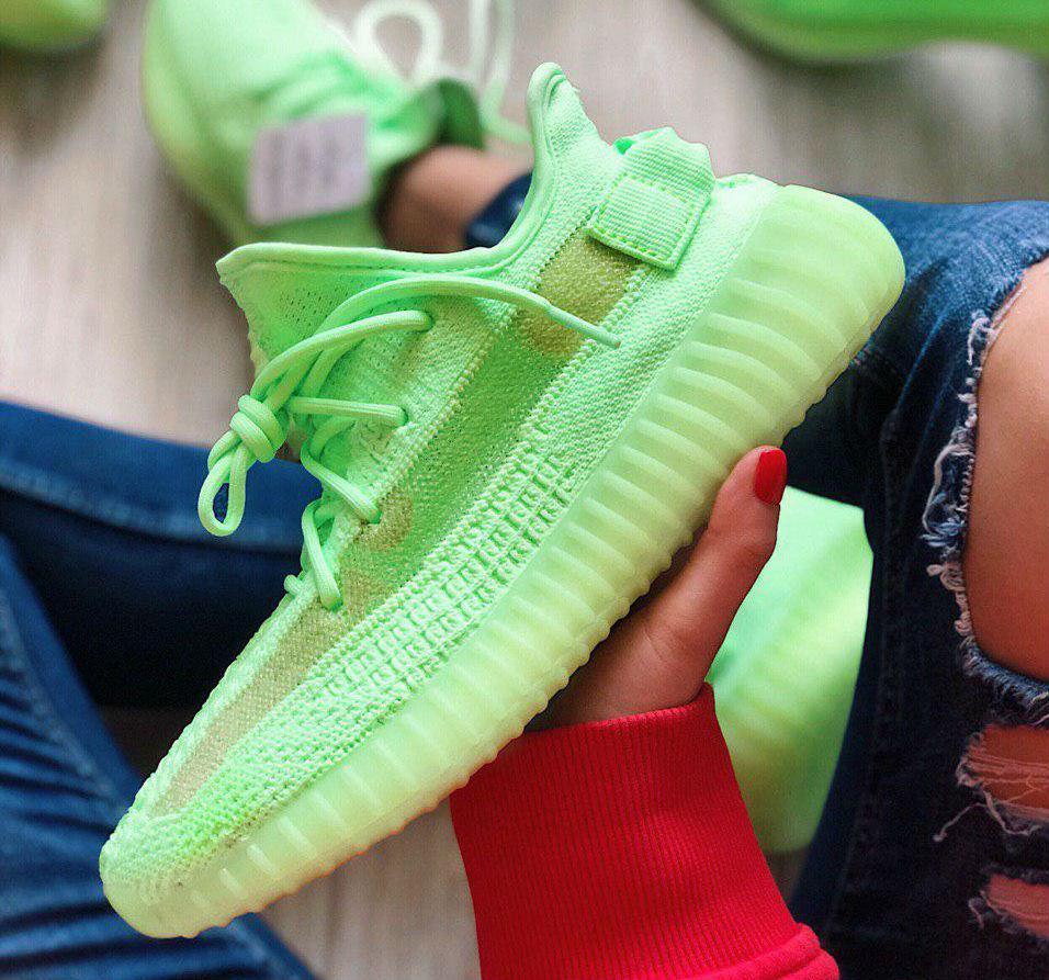 detailed look de9db 02cc5 Adidas Yeezy Boost 350 V2 GID / Neon Green | кроссовки женские и мужские;  летние/весенние; салатовые