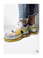 Кожаные кроссовки на желтой силиконовой подошве с голографическими вставками 40 размер